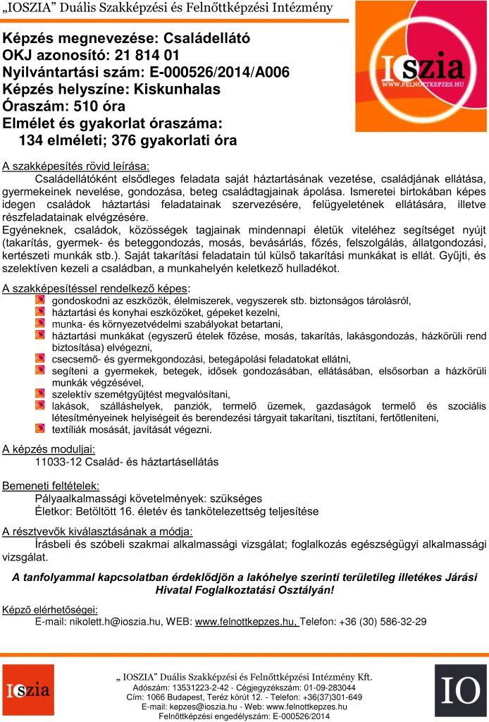 Családellátó OKJ - Kiskunhalas - felnottkepzes.hu - Felnőttképzés - IOSZIA