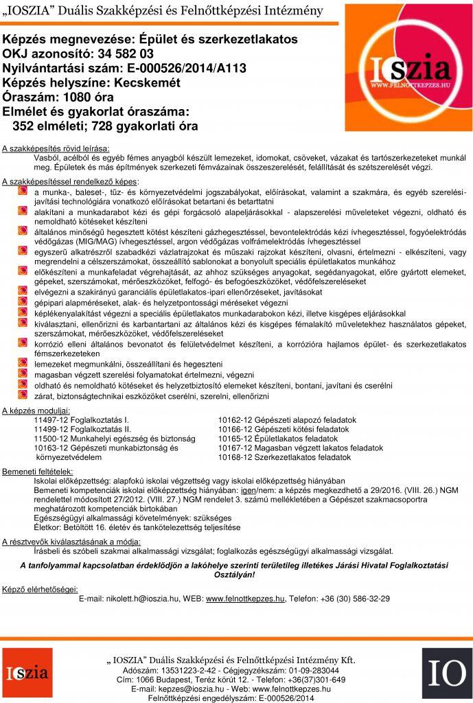 Épület- és szerkezetlakatos OKJ - Kecskemét - felnottkepzes.hu - Felnőttképzés - IOSZIA