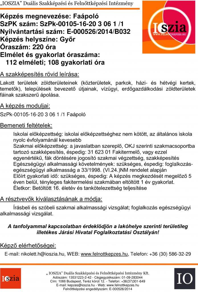 Faápoló - Győr - Felnőttképzés - IOSZIA