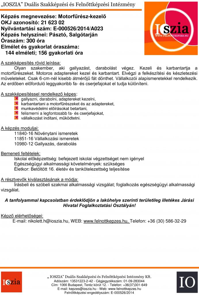 Motorfűrész-kezelő OKJ - Pásztó - Salgótarján - felnottkepzes.hu - Felnőttképzés - IOSZIA