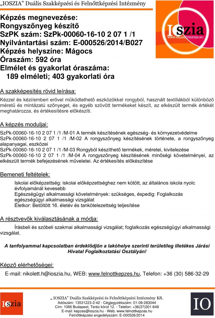 Rongyszőnyeg készítő - Mágocs - felnottkepzes.hu - Felnőttképzés - IOSZIA