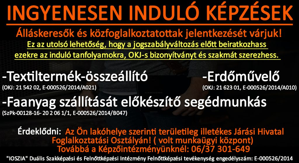 Vas megye - Ingyenes képzések - Felnőttképzés - felnottkepzes.hu - IOSZIA