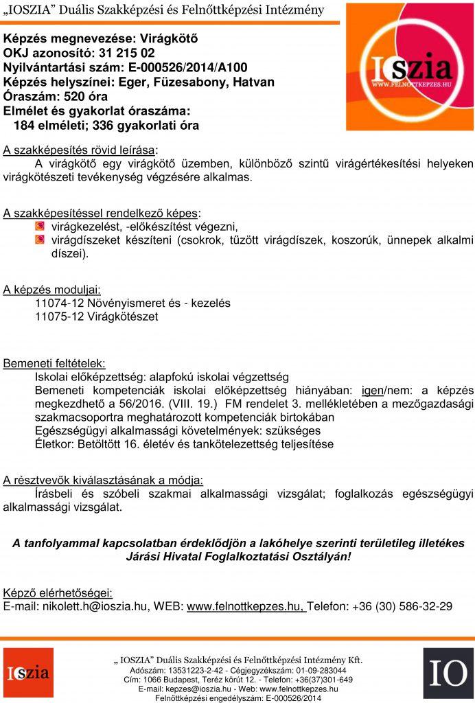 Virágkötő OKJ - Eger - Hatvan - Füzesabony - felnottkepzes.hu - Felnőttképzés - IOSZIA