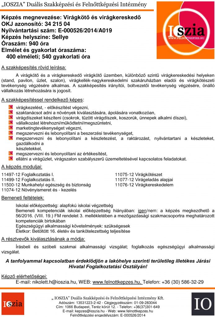 Virágkötő és virágkereskedő OKJ - Sellye - felnottkepzes.hu - Felnőttképzés - IOSZIA